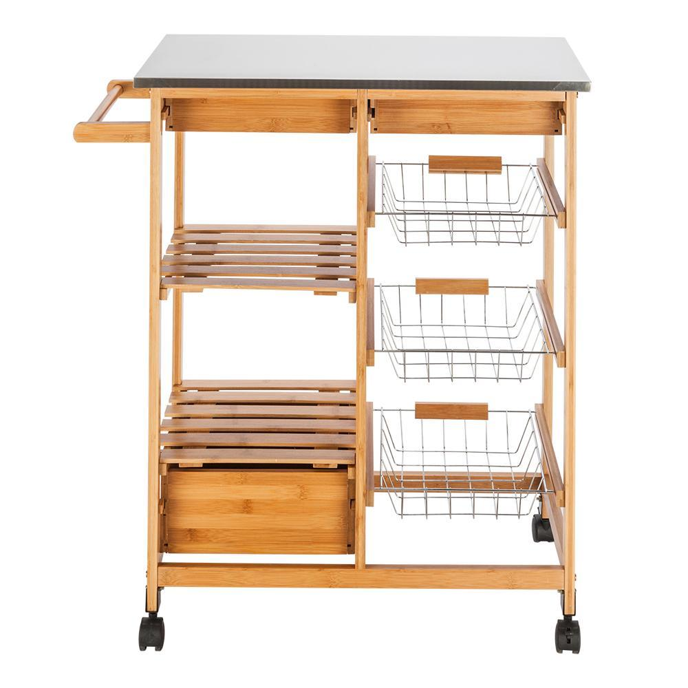FCH Moveable Kitchen Cart with Stainless Steel Table Top & Three Drawers & Three Baskets Burlywood