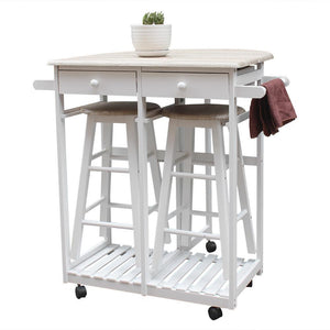 FCH Foldable With Wooden Handle Semicircle Dining Cart With Round Stools White