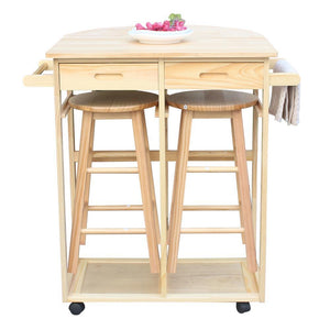 FCH Semicircle Solid Wood Folding Dining Cart with 2 Free Stools Natural