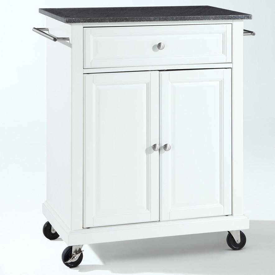 White Kitchen Cart with Granite Top and Locking Casters Wheels