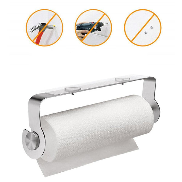 Adhesive Kitchen Roll Paper Holder Stainless Steel Bathroom Tissue Shelf