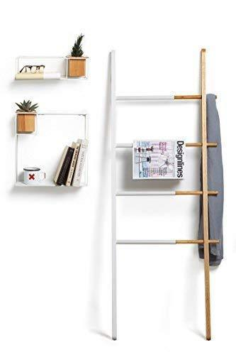 Umbra Hub Ladder - Adjustable Clothing Rack for Bedroom or Freestanding Towel Rack for Bathroom | Expands from 16 to 24 inches with 4 Notched Hooks, Black/Walnut