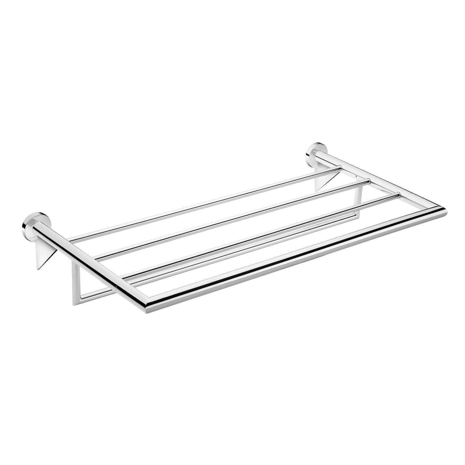 Pomdor Kubic Wall 23.6 in Chrome Towel Rack Bath Storage Shelf Hanging Organizer