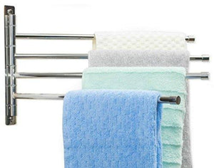 Satopics Swing Arm Towel Bar - Wall Mounted Stainless Steel Bathroom Towel Rack - Hanger Towel Holder Organizer - Perfect Towel Rack