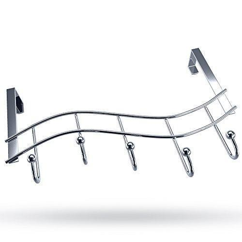 Over the Door Rack with Hooks | 5 Hangers for Towels Coats Clothes Robes Ties Hats | Bathroom Closet Extra Long Heavy Duty Chrome Space Saver Mudroom Organizer by Kyle Matthews Designs