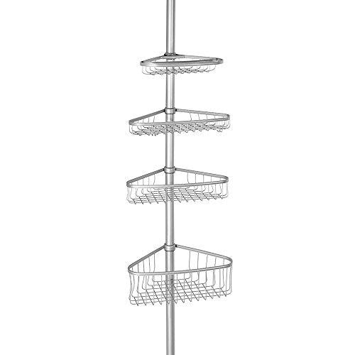 InterDesign York Constant Tension Corner Shower Caddy – Bathroom Storage Shelves for Shampoo, Conditioner, Soap and Razors, Silver