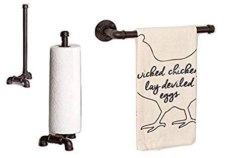 Rustic LDR Iron Pipe Countertop Paper Towel Holder and Matching Iron Pipe Wall Mount Towel Holder, 2pcs - Be Ready Deals
