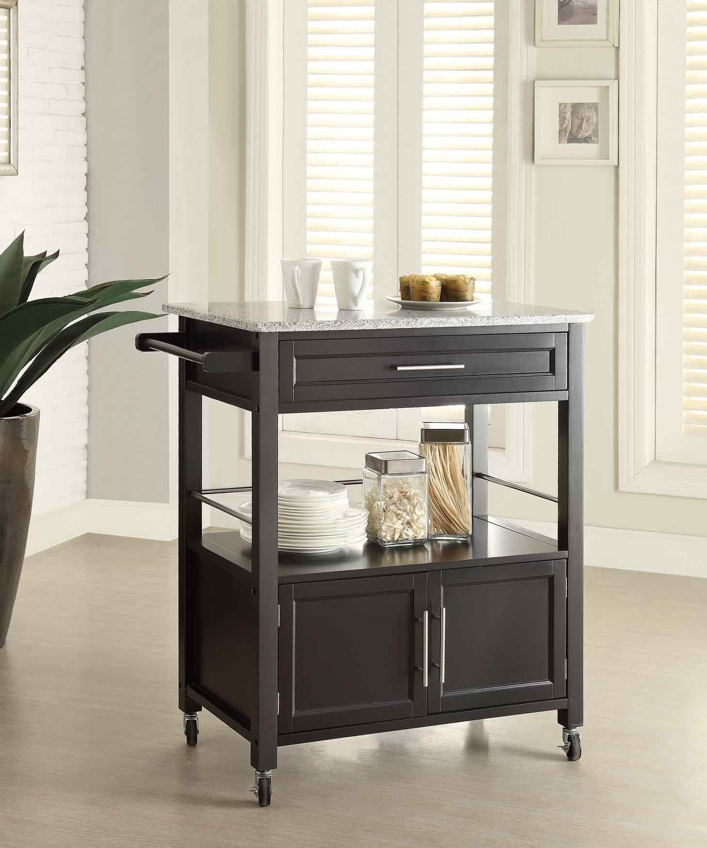 Black Cameron Kitchen Utility Cart with Granite Top