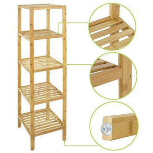 Smartxchoices 5 Tier 100% Bamboo Bathroom Organizer Standing Shelf Towel Rack Free Standing Shelves Units Wood Storage Rack Corner Bookshelf Plant Stand (57.5'' H)