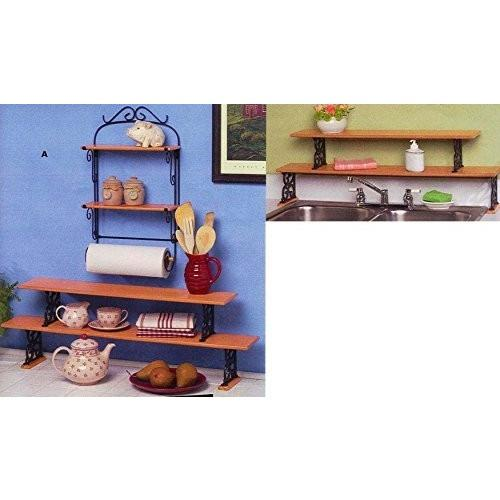 2 Tier Wood And Cast Iron Kitchen Shelves (Cast Iron In Hunter Green)