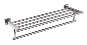 QT Home Decor Premium Modern Single Hanging Quadruple Towel Rack Bar w/Square Base (24 Inches), Brushed Finish, Stainless Steel, Water and Rust Proof, Wall Mounted, Easy to Install