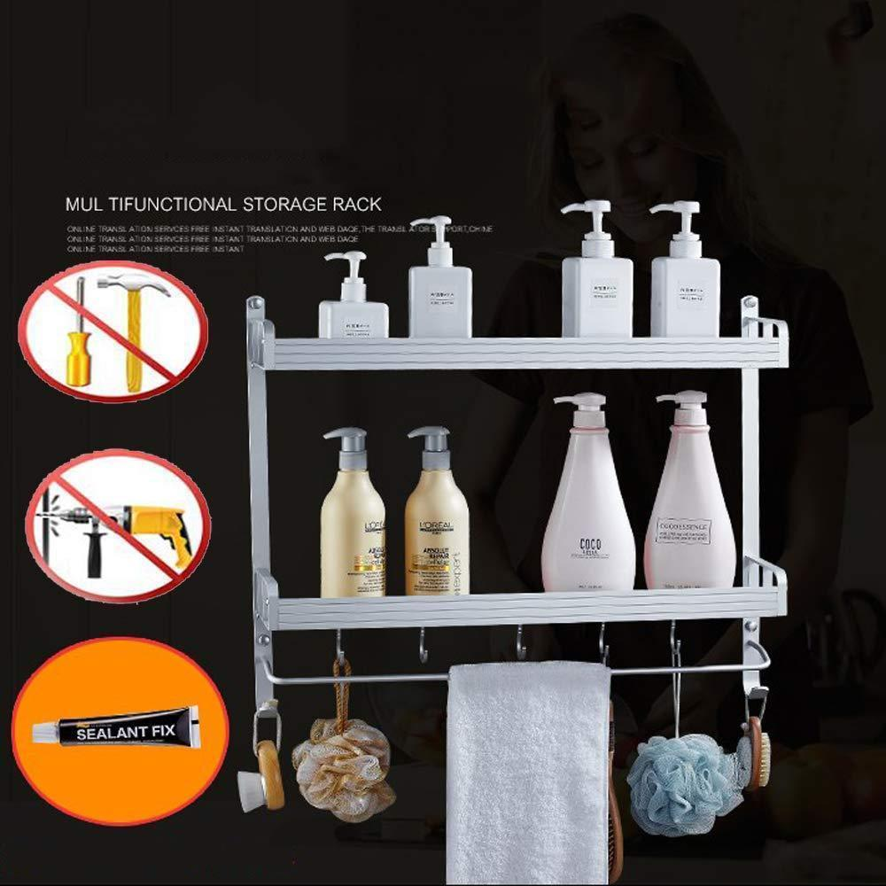 2 Layer Space Aluminum Bathroom Corner Shelf Shower Caddy Shampoo Soap Cosmetic Storage Basket Kitchen Spice Rack Holder Organizer with Towel Bar and Hooks (Rectangle-Double)