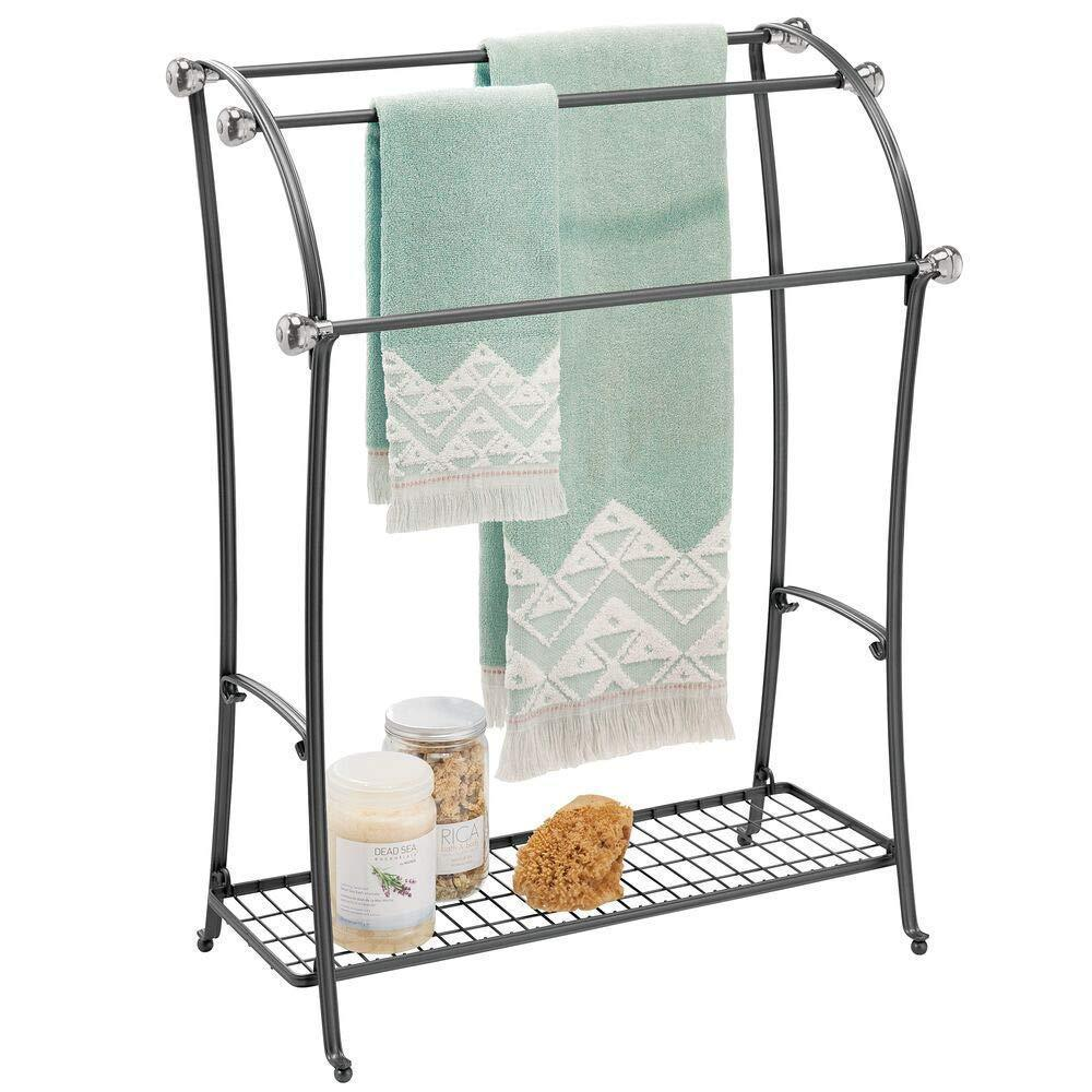 mDesign Large Freestanding Towel Rack Holder with Storage Shelf - 3 Tier Metal Organizer for Bath & Hand Towels, Washcloths, Bathroom Accessories - Black/Brushed Steel