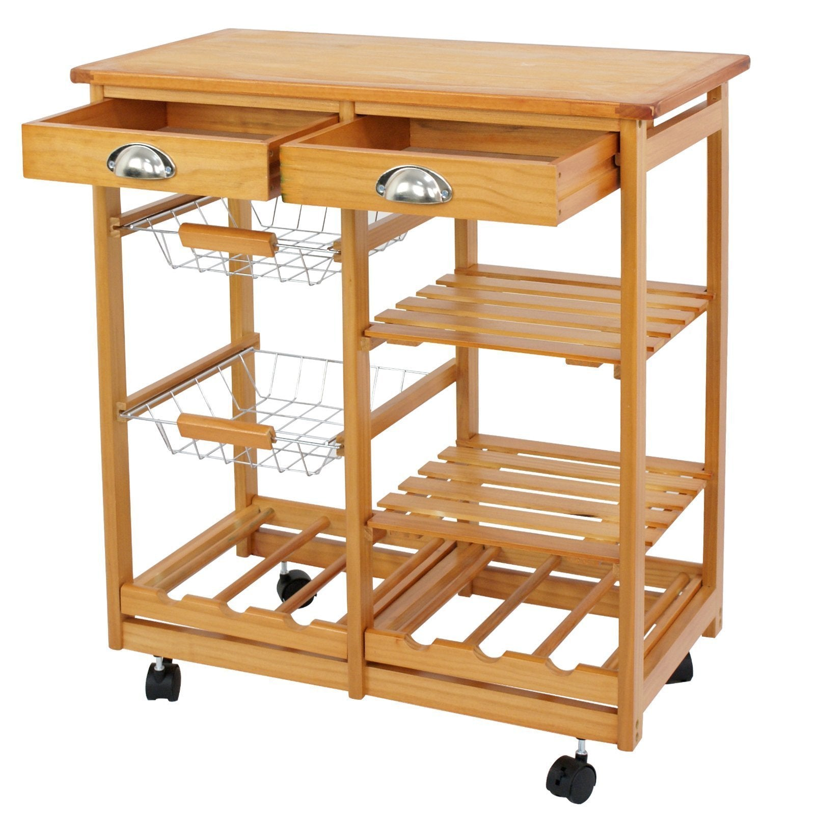 Nova Microdermabrasion Rolling Wood Kitchen Island Storage Trolley Utility Cart Rack w/Storage Drawers/Baskets Dining Stand w/Wheels Countertop (Wood)
