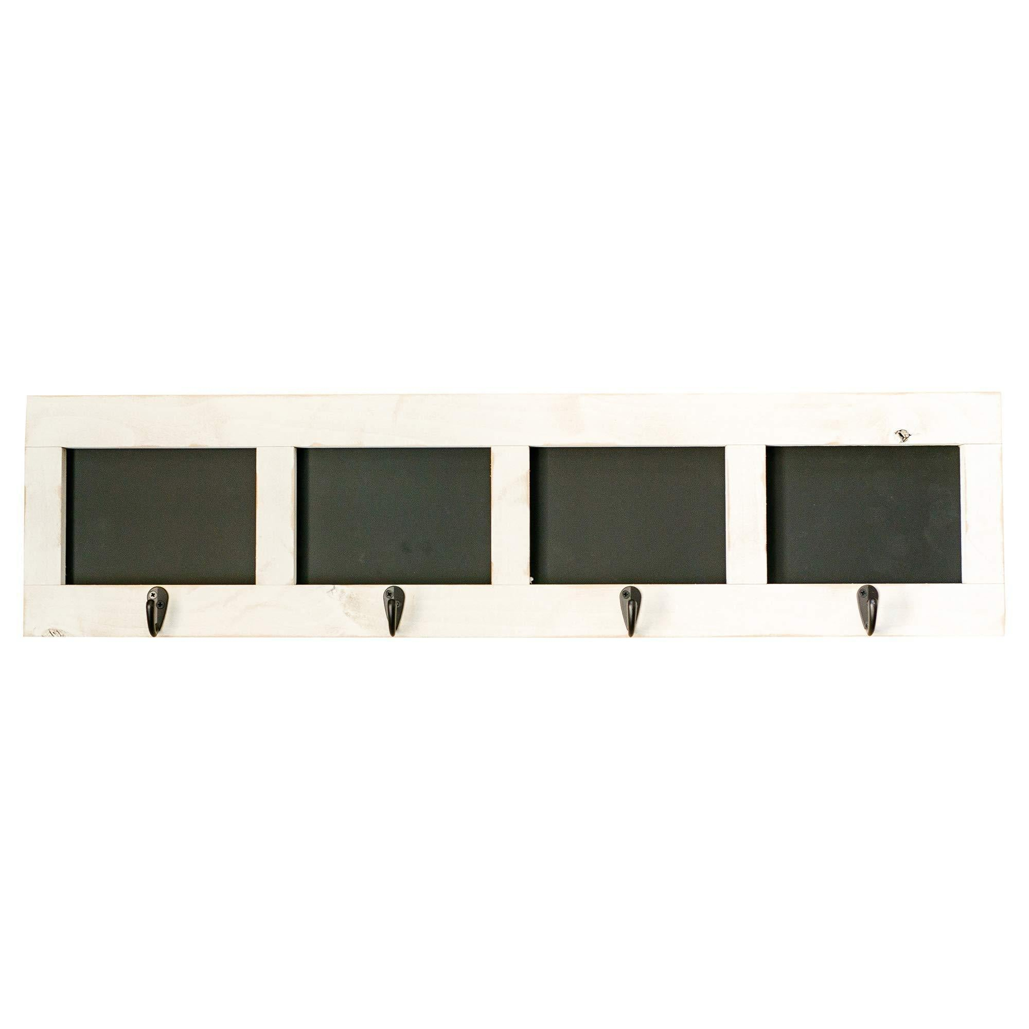 Drakestone Designs Wall Mounted Coat and Towel Rack | 4 Hooks with Chalkboards | Entryway Bathroom Organizer | Solid Wood Farmhouse Decor (Whitewash)