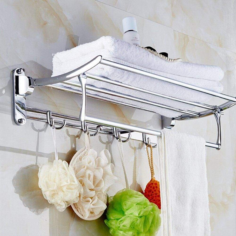 Candora 24in Wall Mounted Shelf Towel Rack Stainless Steel Specular Finish Towel Shelf Towel Holder with 8 Hooks