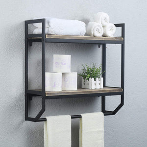 "2-Tier Metal Industrial 23.6"" Bathroom Shelves Wall Mounted,Rustic Wall Shelf Over Toilet,Towel Rack with Towel Bar,Utility Storage Shelf Rack, Floating Shelves Towel Holder,Black Brush Silver"