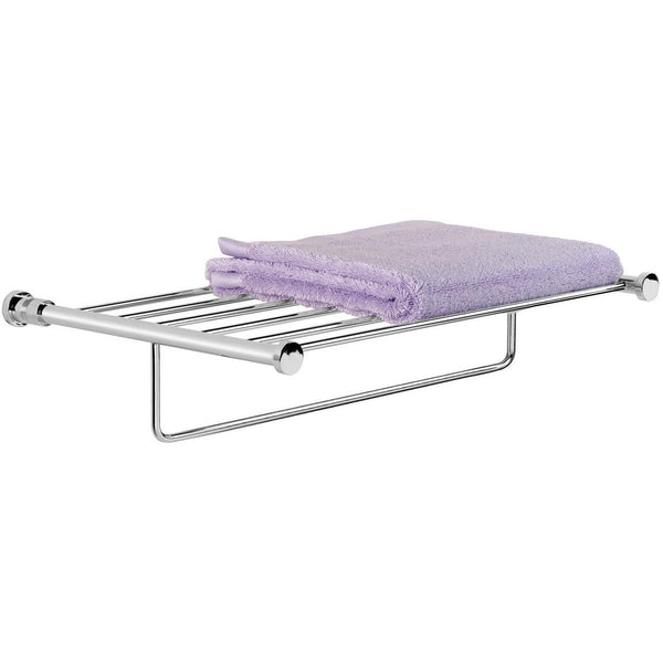 "Ribbet Wall Mounted 20"" Towel Rack Bath Storage Shelf With Towel Bar Rail, Brass"