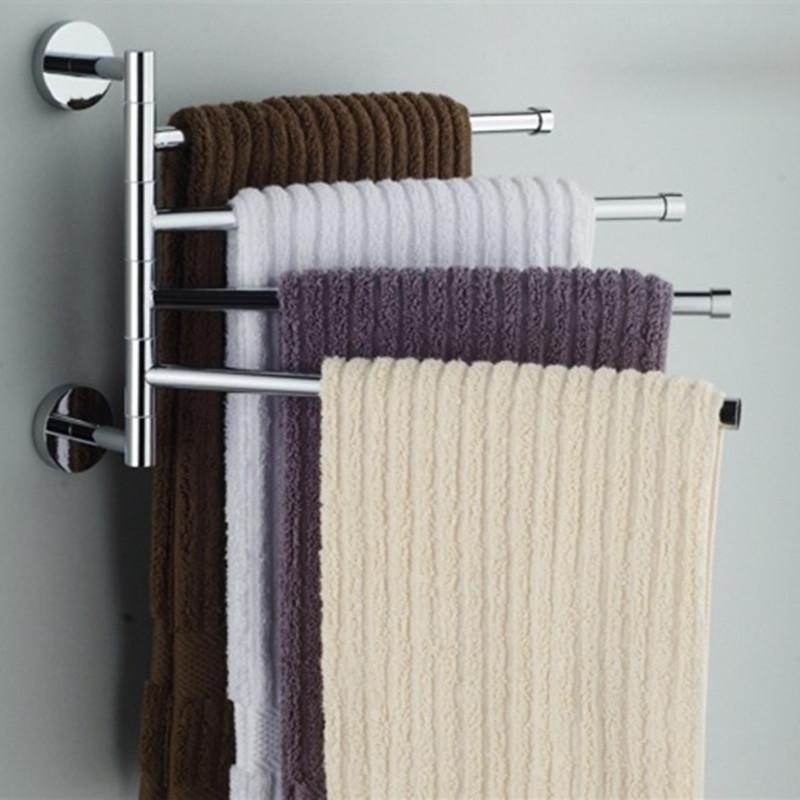 Stainless Steel Towel Bar Rotating Towel Rack Bathroom Kitchen Wall-mounted Towel Polished Rack Holder Hardware Accessory