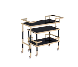 Acme Kina Cart With Gold And Black And Smoky Glass Finish 98374
