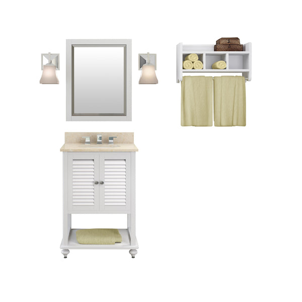 Gallina White Bath Vanity Set with Shelf/Mirror