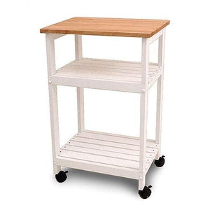 White Kitchen Microwave Cart with Butcher Block Top & Locking Casters