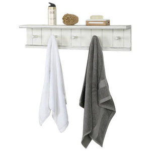 Farmhouse Vintage White Wood Floating Bathroom Towel Rack