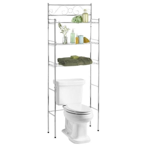 Bathroom Linen Tower Over the Toilet Shelf with 3 Shelves in Chrome Finish