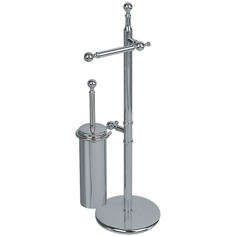 BA Standing Bathroom Towel Bar Rail Holder & Toilet Brush Holder Set - Brass