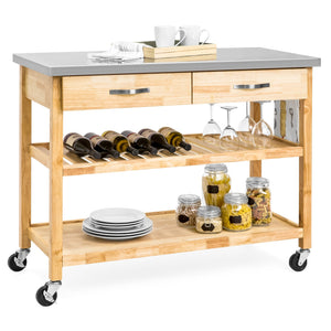 Kitchen Island Utility Cart w/ Stainless Steel Countertop