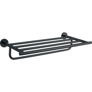 DWBA Wall Matte Black 19.7 Inch Towel Shelf Rack With Towel Bar Holder for Bath