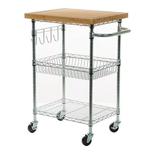 Contemporary Kitchen Silver Rolling Cart with Wood Top and 2-Storage Bottom Shelves