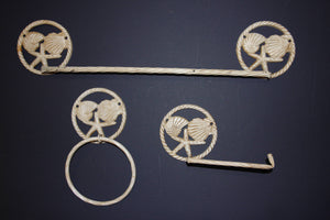 3) Coastal Living Distressed Bath Accessories, Coastal Towel Rack Bar, Coastal Towel Ring, Coastal Toilet Paper Holder