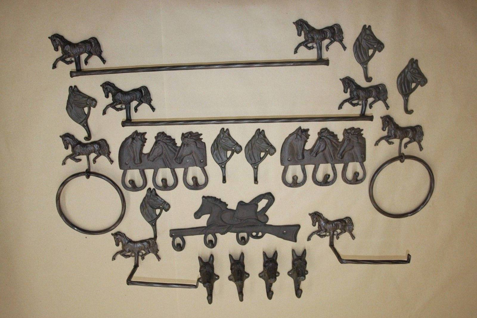 20) Georgetown Horse Theme Rustic Bath Accessories Collection, Cast Iron, 20 pieces, Free Ship