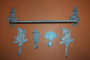 5) Mermaid Aqua Ocean Beach Bath Set, Cast Iron Mermaid Towel Rack Bar Sealife Towel Hooks Mermaid Wall Hooks, Set of 5,  MM