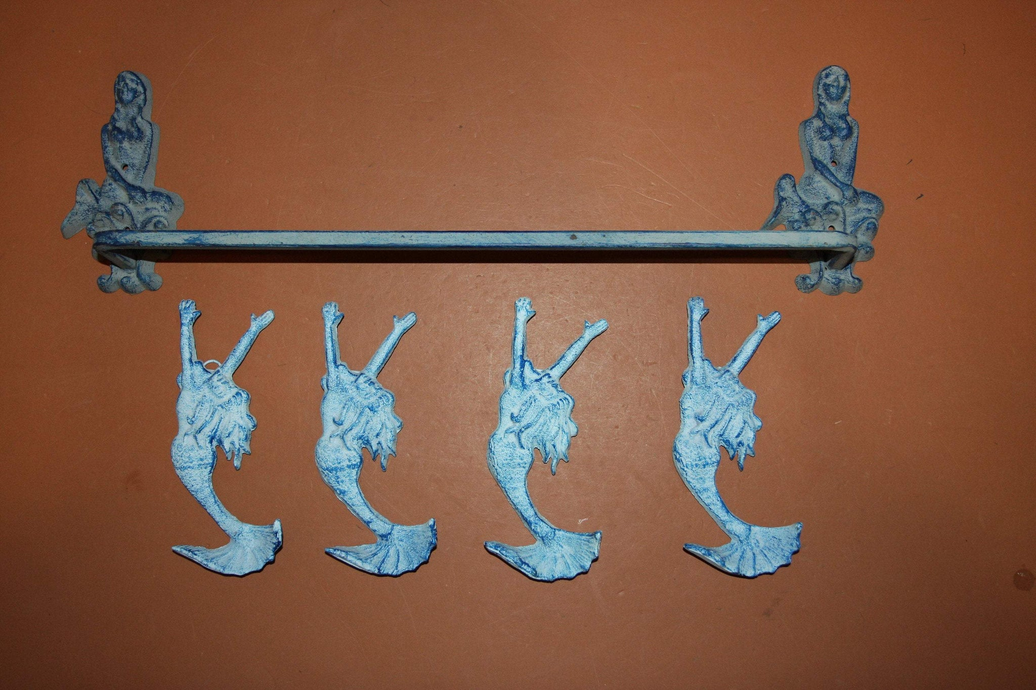 5) Aqua Color Vintage Look Mermaid Bath Decor, Mermaid Towel Bar Towel Hooks Solid Cast Iron Set of 5 pieces