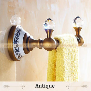 Crystal Towel Rack Holder Golden Brass Wall Mounted Square Towel Hanger Towel Bar Home Decoration 6318