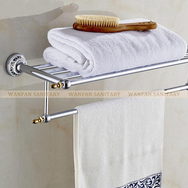 Arrival Luxury Bathroom Accesseries High Quality Chrome Finish Bath Towel Shelves Towel Rack Towel Bar Bath Hardware St6312