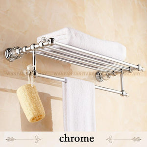BrassCrystal Titanium Gold Plating Towel RackTowel Shelf W/ BarTowel Holder Bathroom Accessories Hk20