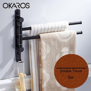 Bathroom Towel Bar W/ Hook 180 Degree Rotation2/3/4 Layer Stainless Steel Towel Rack Holder Wall Mounted Bathroom Accessories