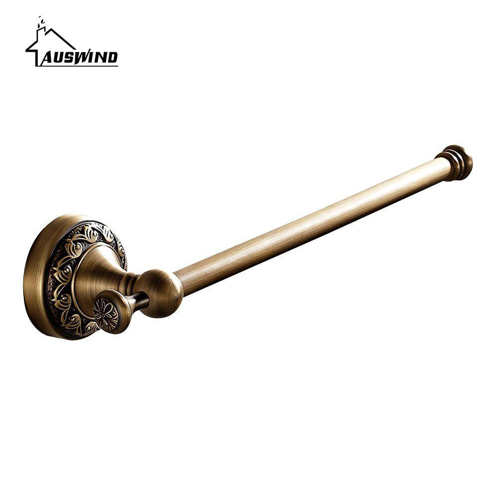 Brass European Carved Brass Towel Bar Bathroom Towel Rack 30 Cm Antique Short Single Pole Bar Wall Mounted Bathroom Products