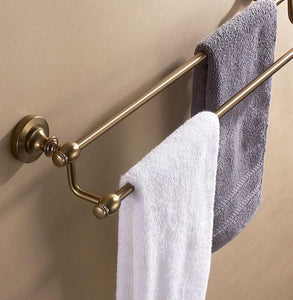 Double Tier Aluminum Bathroom Wall Towel Rack Holder Bath Storage Shelf Antique Brush Bronze Design Bathroom Accessories