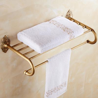 Classic Antique Brass Bath Towel Holder Wall Mounted Brass Bathroom Towel Rack Towel Shelf
