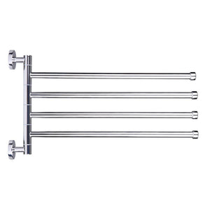 Space-saving Wall-Mounted Stainless Steel Swivel Bar Towel Rack Multifunctional Bath Towel Holder