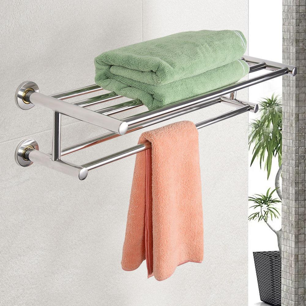 Costway Wall Mounted Towel Rack Bathroom Hotel Rail Holder Storage Shelf Stainless Steel