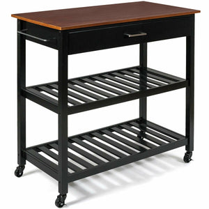Multifunction Kitchen Island Rolling Trolley Cart-Black