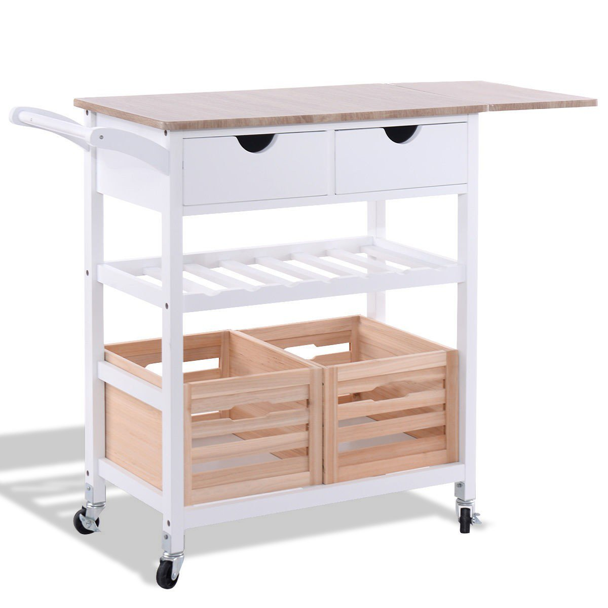 Rolling Kitchen Island Trolley Cart with Wine Shelf