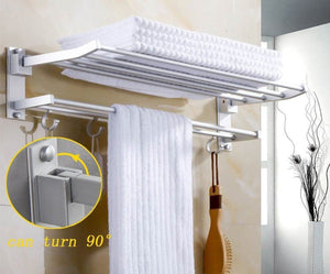 Wall Mounted Space Aluminum Towel Shelf With Hooks