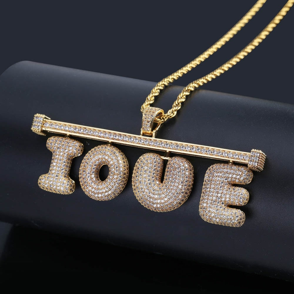 Free Stitching Combination Custom Name Letters Pendant withTennis Chain