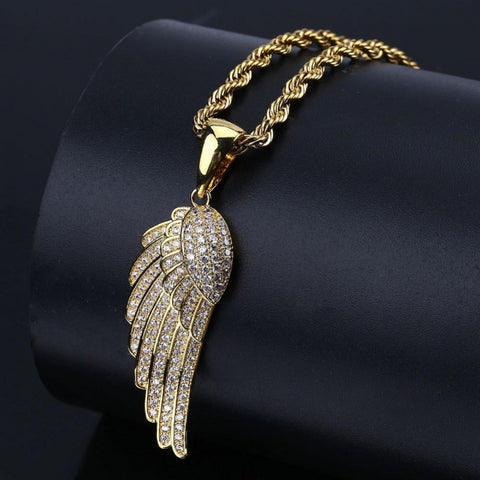 HipHop Angel Wings Pendant Necklace Copper Gold/Silver Color